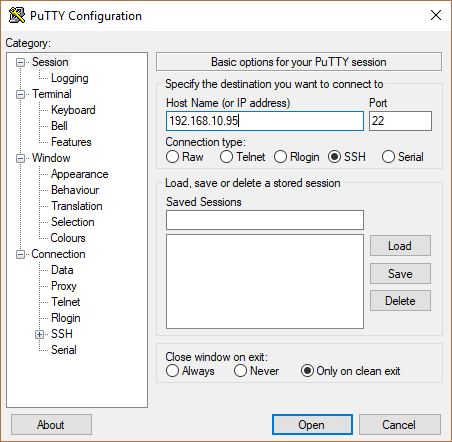 GUI of putty